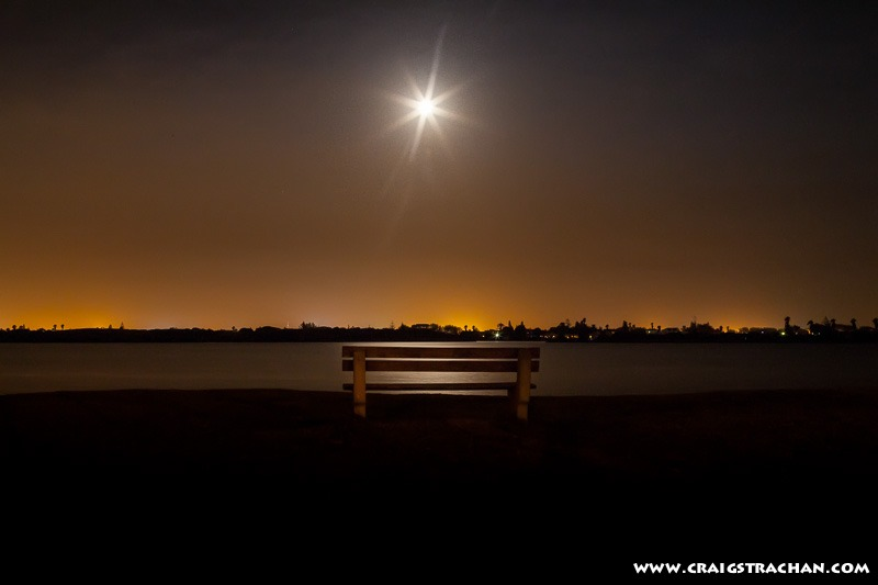 Parkbench in the moonlight